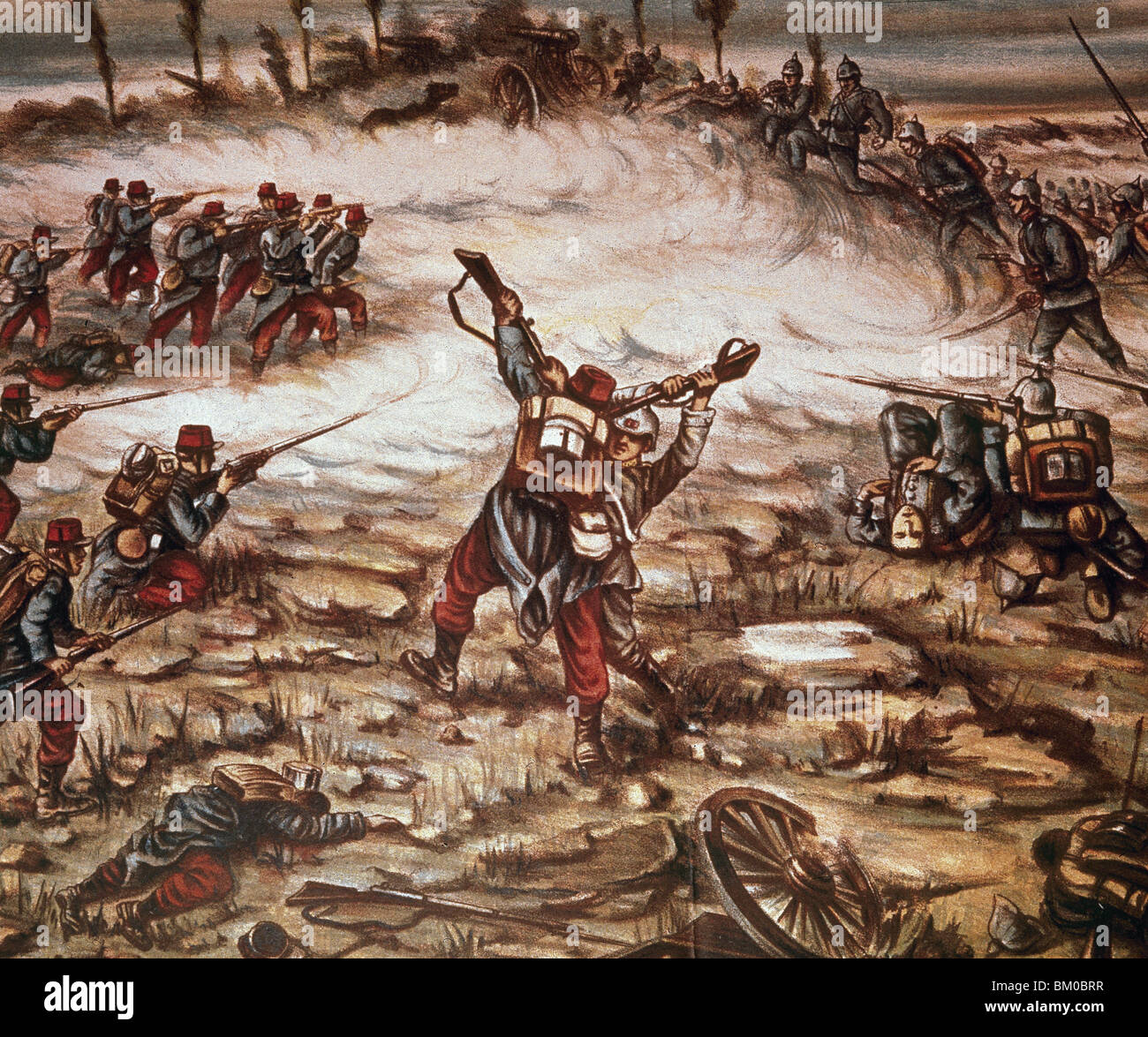 WORLD WAR I (1914-1918). Battle between German and French troops. Drawing. - Stock Image
