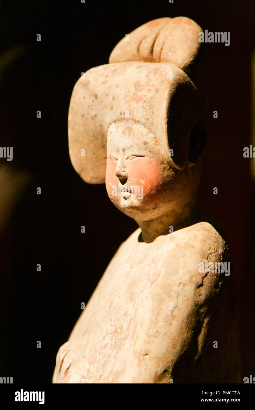 Exhibited object at Shanghai Museum, earthen figure of a women, from the Tang Dynasty, EXPO 2010 Shanghai, Shanghai, - Stock Image