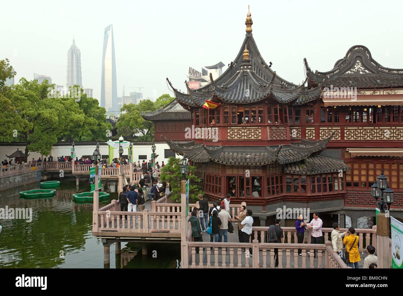 Mid Lake Pavilion Teahouse, Bridge of nine turnings, Mid-lake Pavilion, in Yu Yuan Gardens, Huxinting Teahouse, - Stock Image