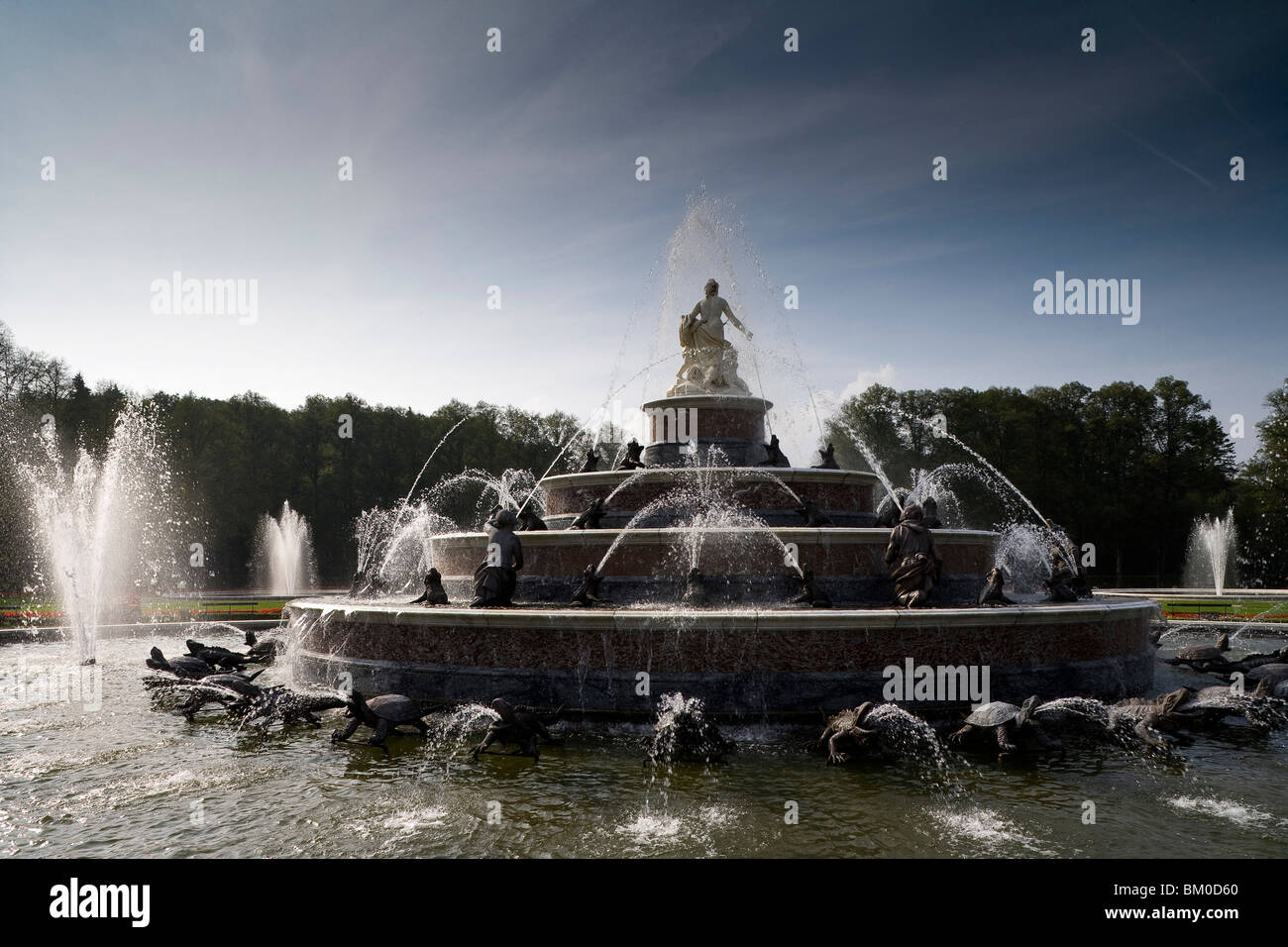 Fountain in front of Herrenchiemsee Castle, Herrenchiemsee, Chiemsee, Chiemgau, Bavaria, Germany, Europe - Stock Image