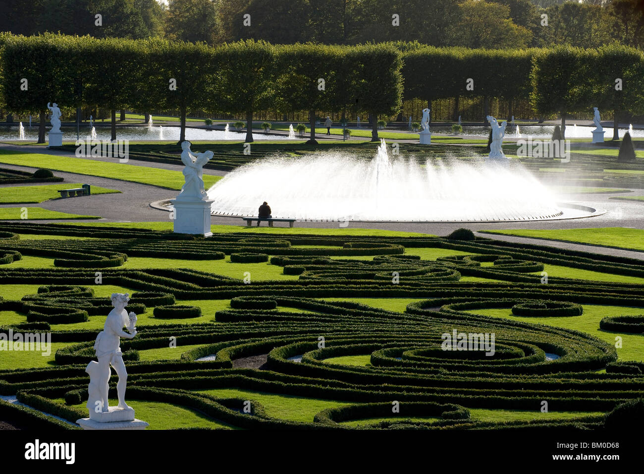 Great Garden in Herrenhausen Gardens, one of the most distinguished baroque formal gardens of Europe Hanover, Lower - Stock Image