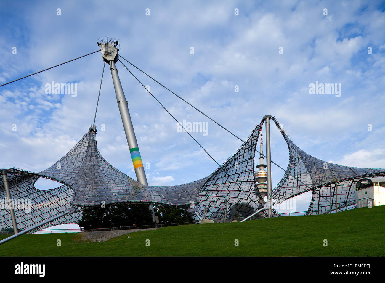 Olympia Park with Olympic tower, Munich, Upper Bavaria, Bavaria, Germany, Europe - Stock Image