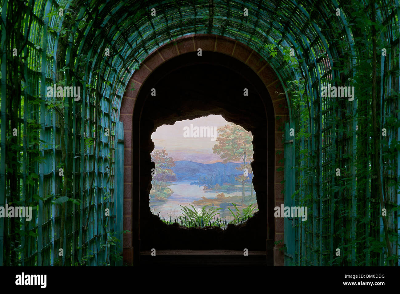 Perspective in the palace gardens of Schwetzingen Castle, Baden-Wuerttemberg, Germany, Europe - Stock Image