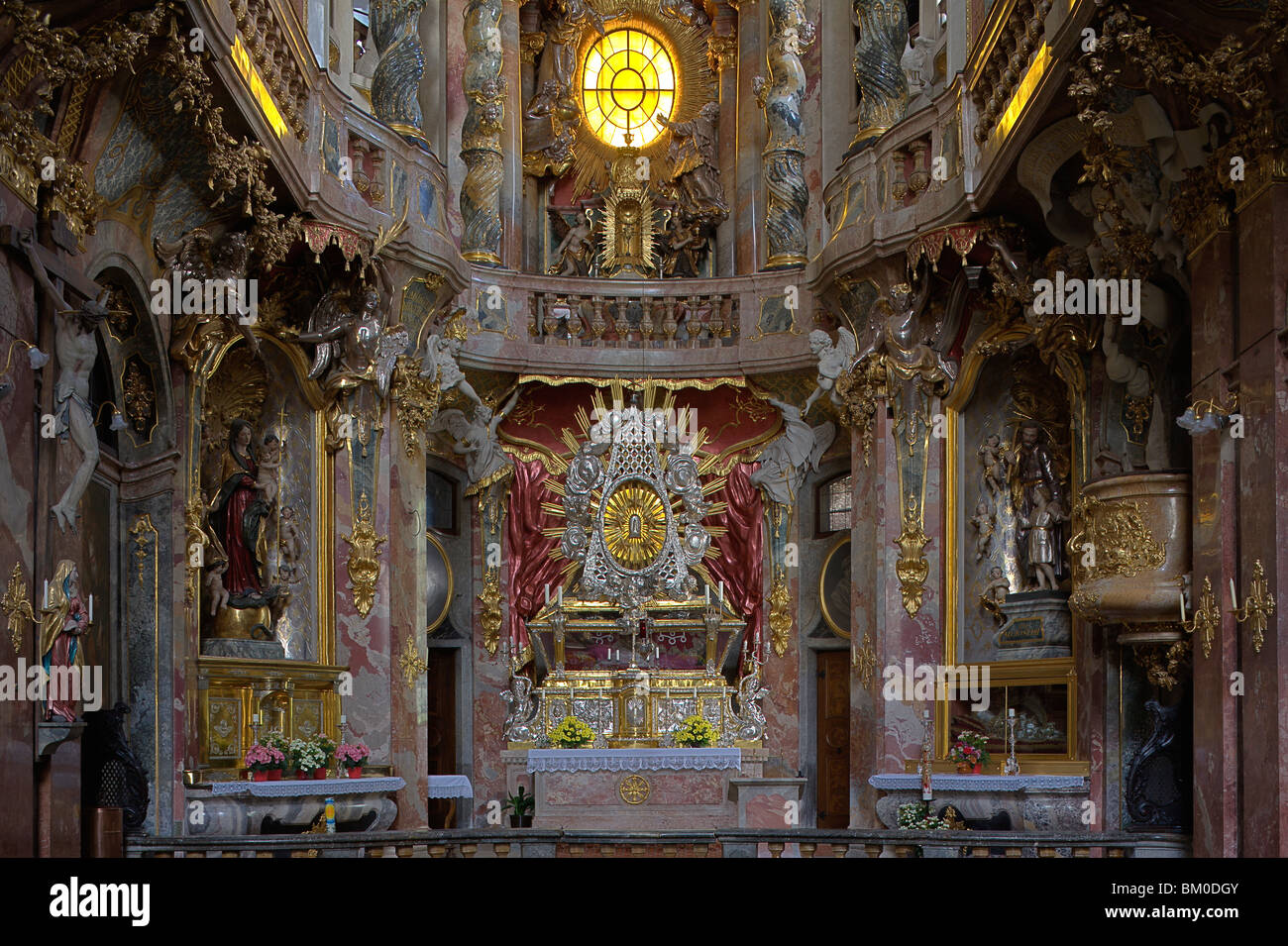 Interior view of the Asam church, Asamkirche, St. Johann Nepomuk was built in 1733–1746 by the Asam brothers Asam, - Stock Image