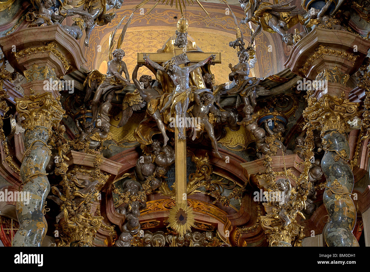 Interior view of the Asam church, Asamkirche, St. Johann Nepomuk was build in 1733–1746 by the Asam brothers Asam, - Stock Image