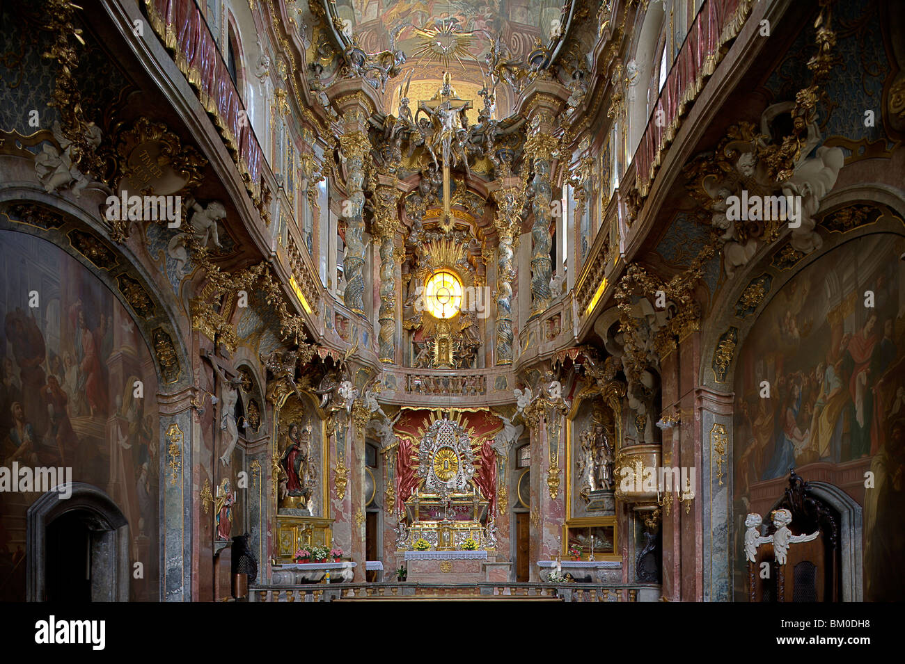 Interior view of the Asam church, Asamkirche, St. Johann Nepomuk was build in 1733–1746 by the Asam brothers Asam, Stock Photo