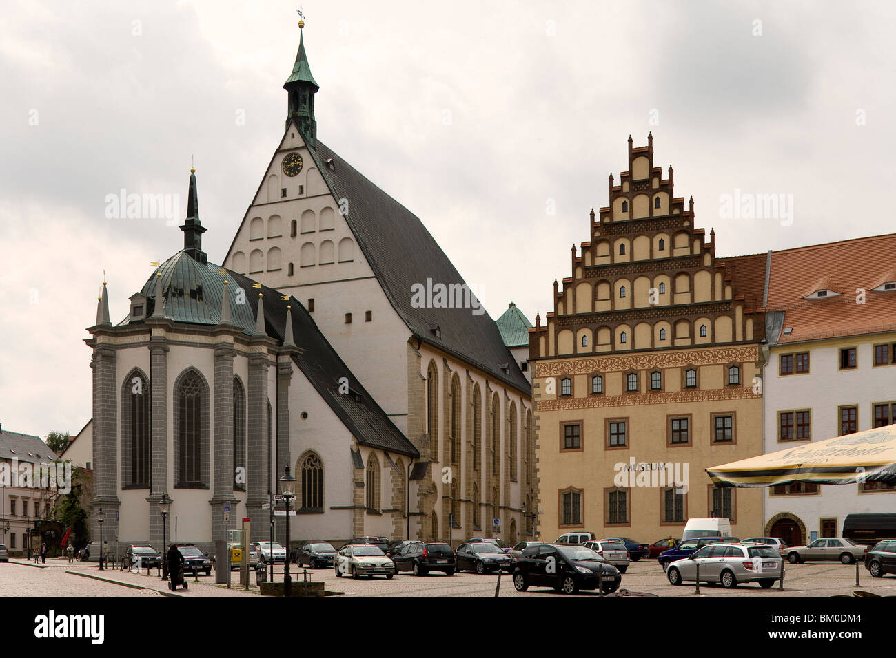 Cathedral St. Marien seen from the Untermarkt, Freiberg, Saxony, Germany, Europe - Stock Image
