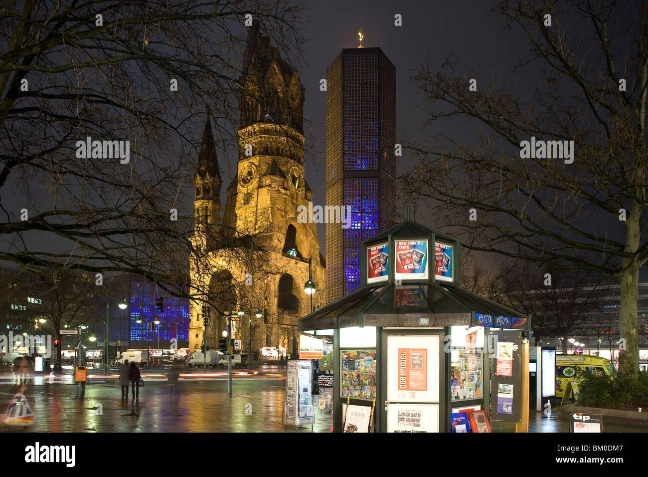 Kaiser Wilhelm Memorial Church, Breitscheidplatz, Berlin, Germany, Europe - Stock Image