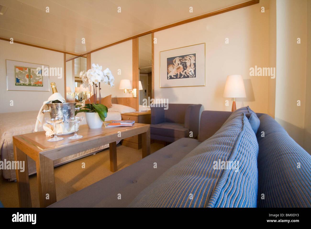 MS Bremen Category 7 Balcony Suite, Aboard MS Bremen Cruise Ship, Hapag-Lloyd Kreuzfahrten, Germany - Stock Image