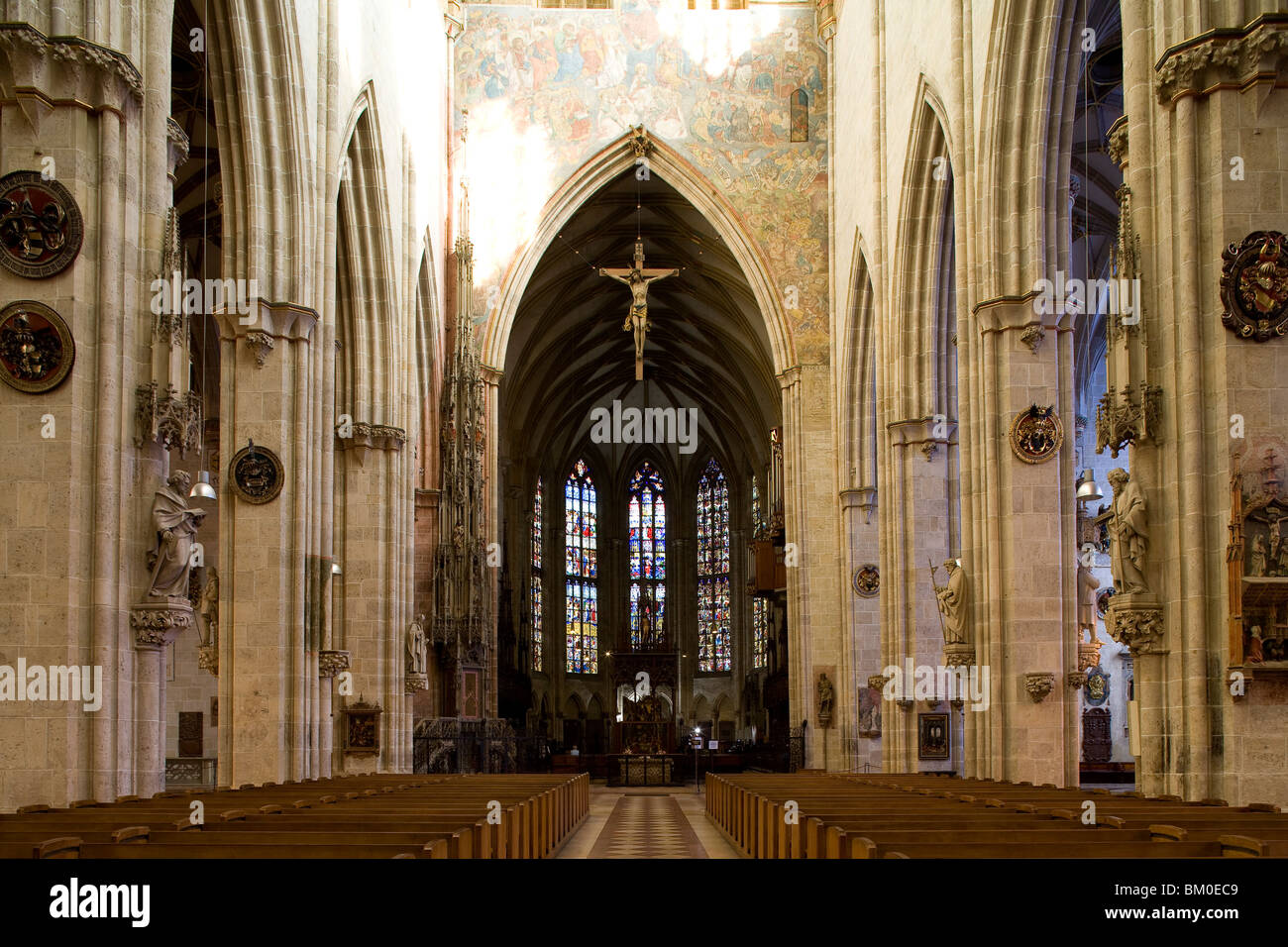 Interior view of Ulm Minster, View towards the choir stalls, Ulmer Muenster, Ulm, Baden-Wuerttemberg, Germany, Europe Stock Photo