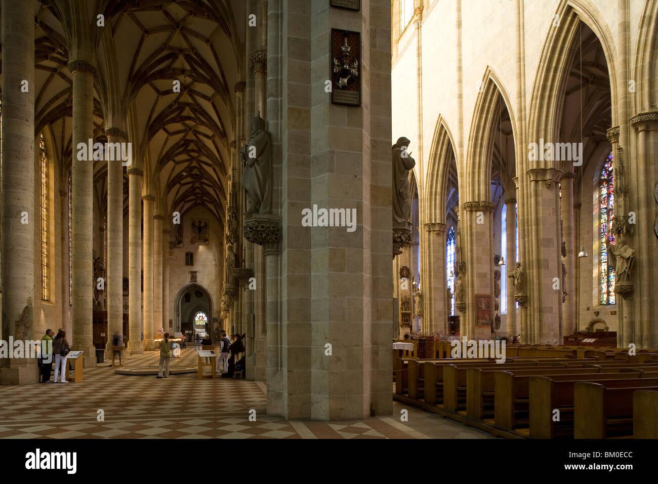 Interior view of Ulm Minster, Ulmer Muenster, Ulm, Baden-Wuerttemberg, Germany, Europe Stock Photo