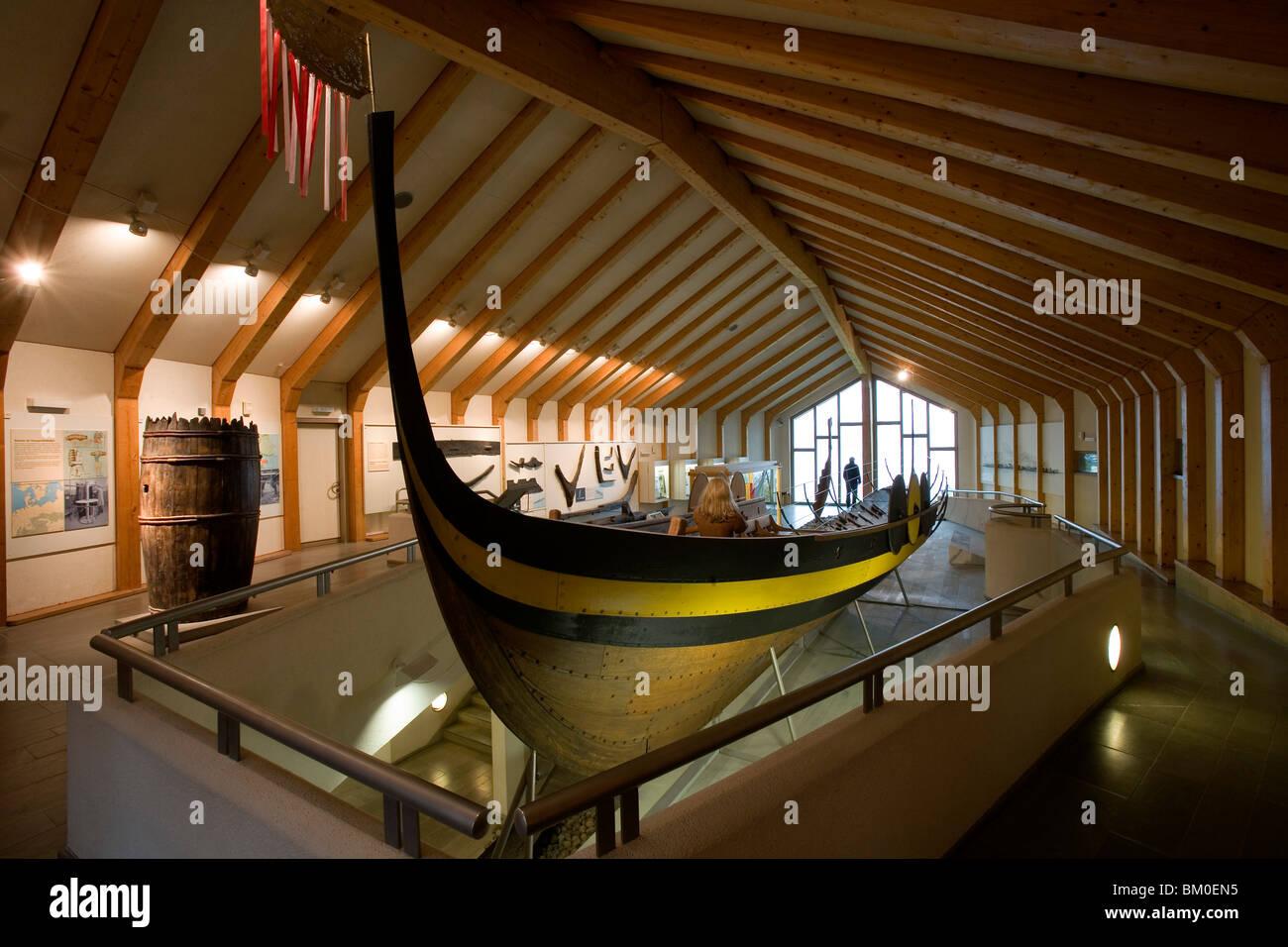 Long-boat at viking Museum Haithabu, near Schleswig, Schleswig-Holstein, Germany, Europe - Stock Image