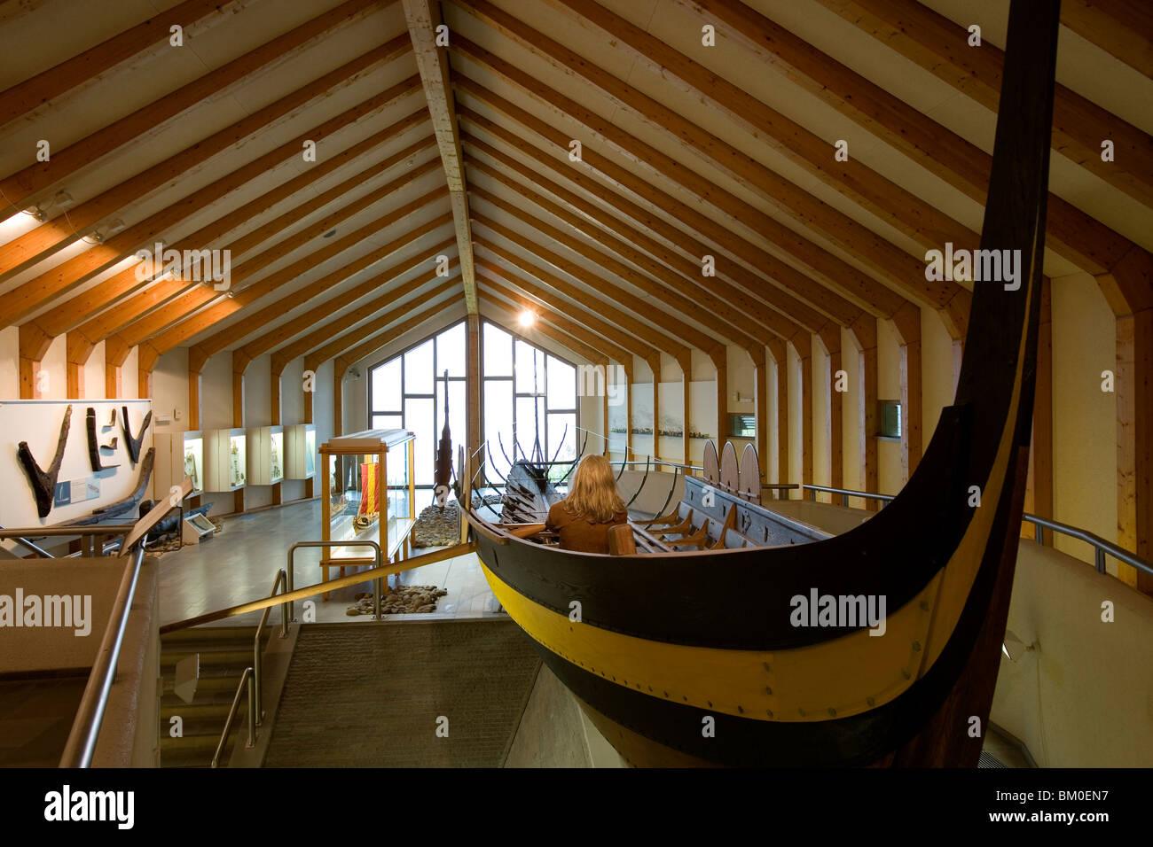 Long-boat in the viking Museum Haithabu, near Schleswig, Schleswig-Holstein, Germany, Europe - Stock Image