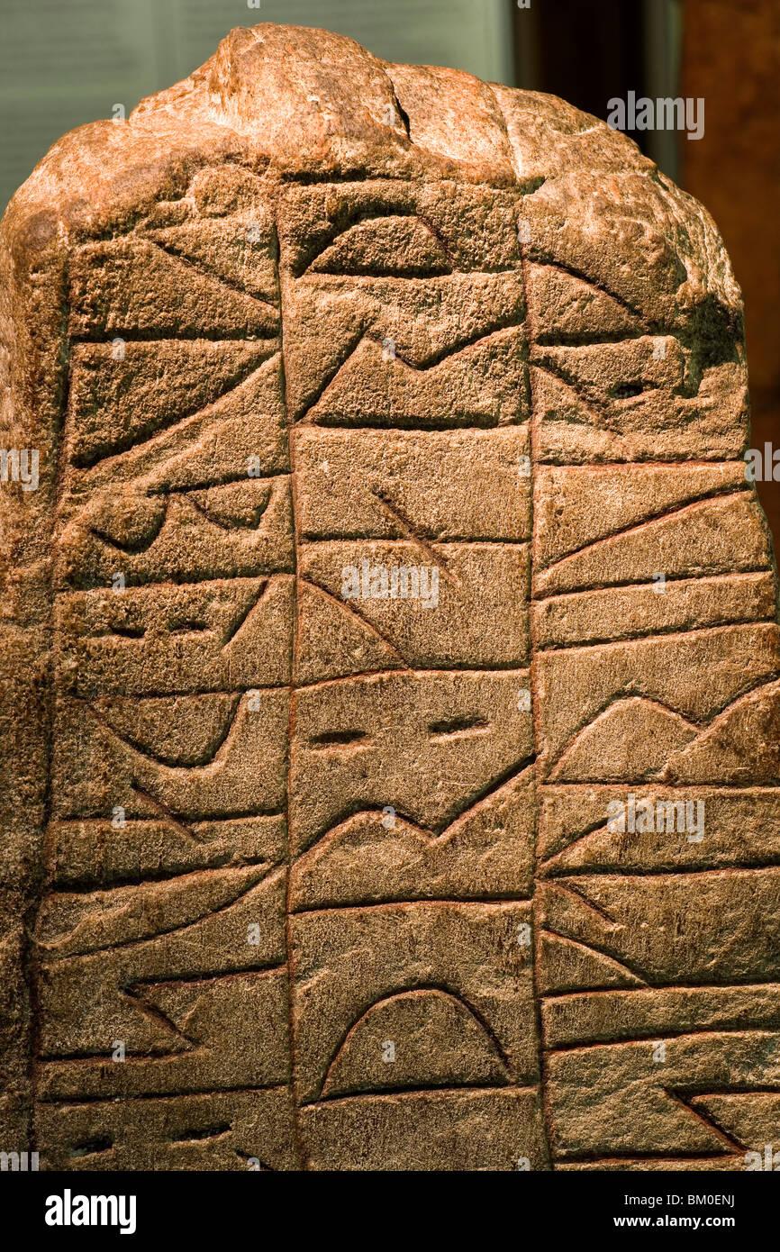 Rune stone in the viking Museum Haithabu, near Schleswig, Schleswig-Holstein, Germany, Europe - Stock Image