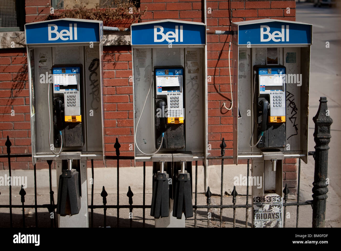 Bell payphone booths are seen in downtown Toronto - Stock Image