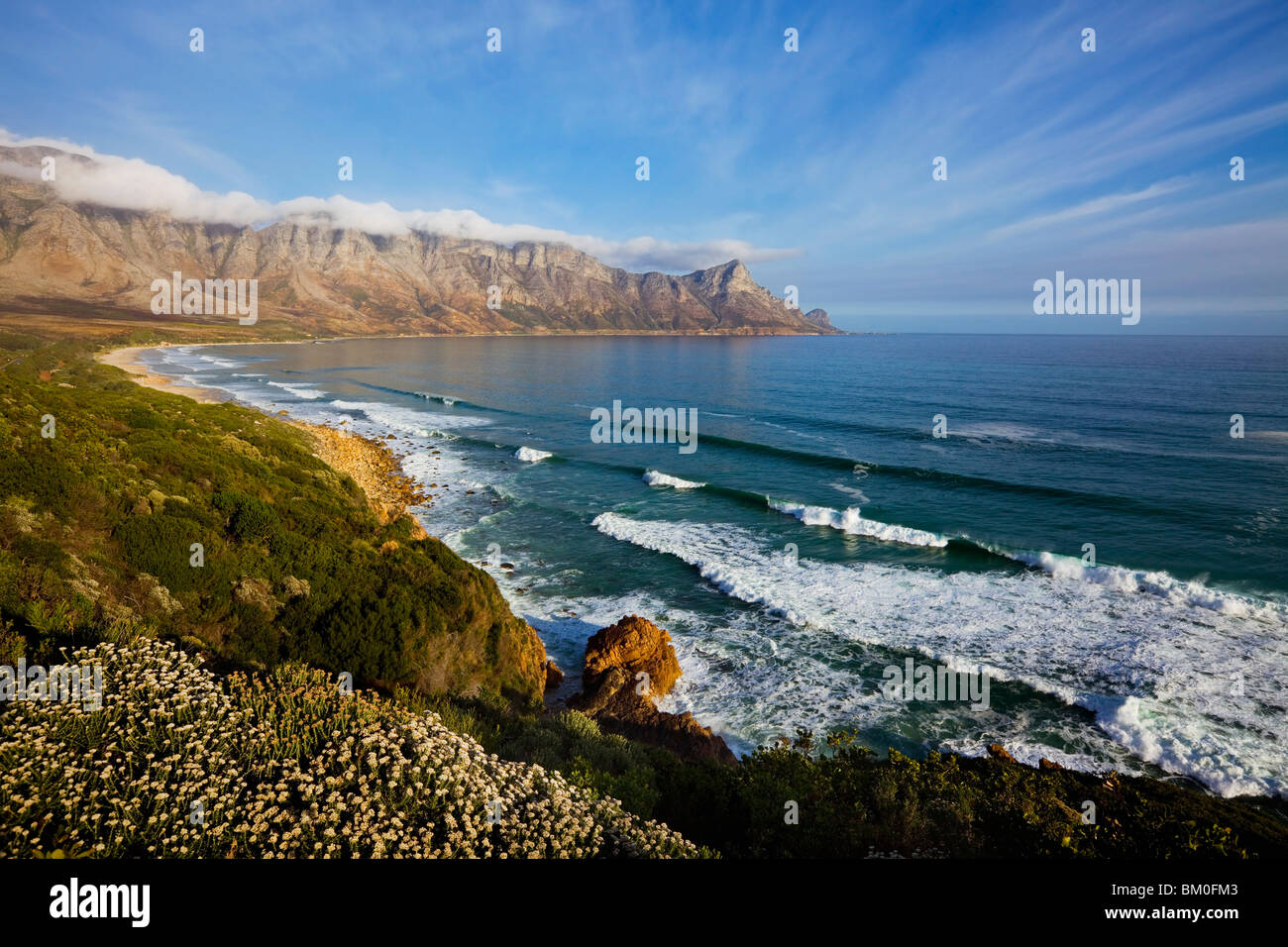 Wide view of Kogel Bay on spring day, Western Cape Province, South Africa - Stock Image