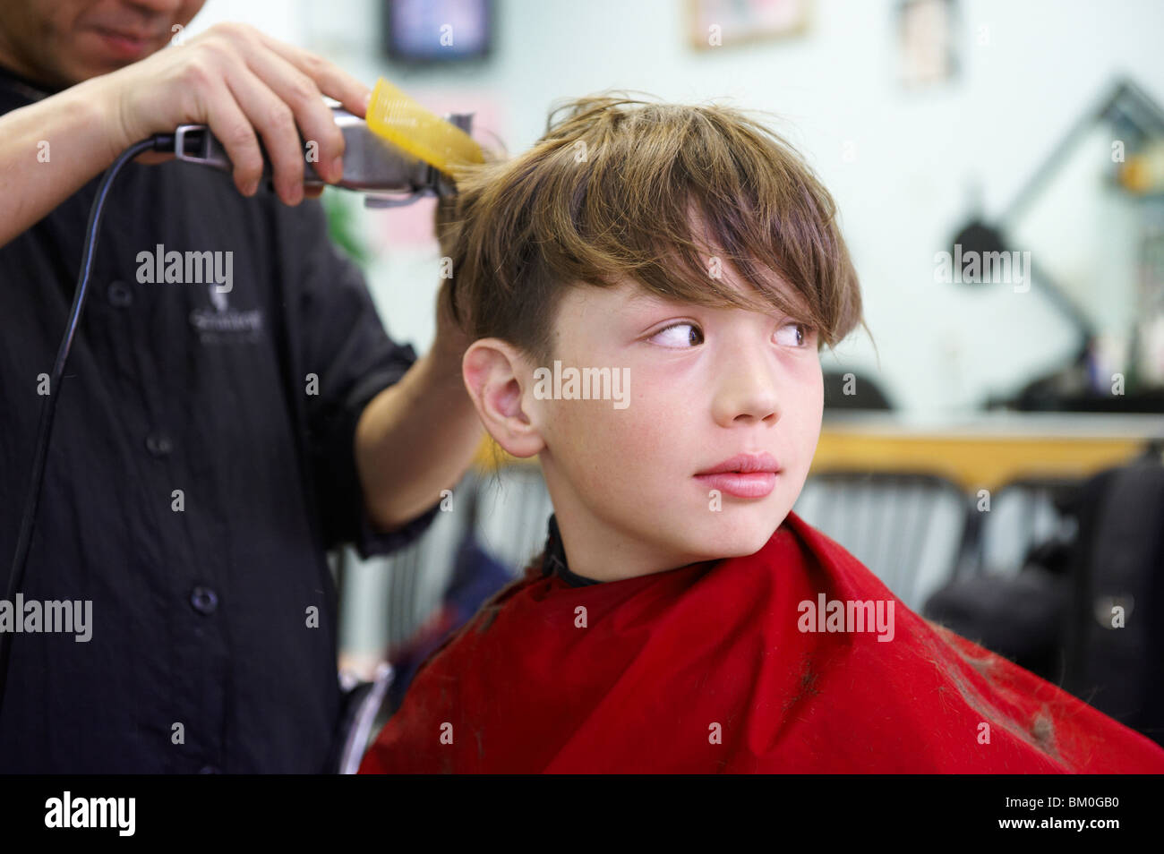 Boy getting haircut, Toronto, Ontario - Stock Image