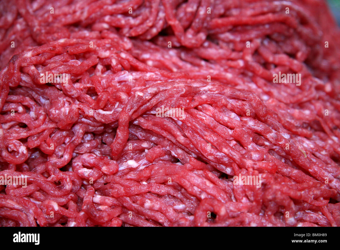 detailed image of lean minced meat / beef - Stock Image
