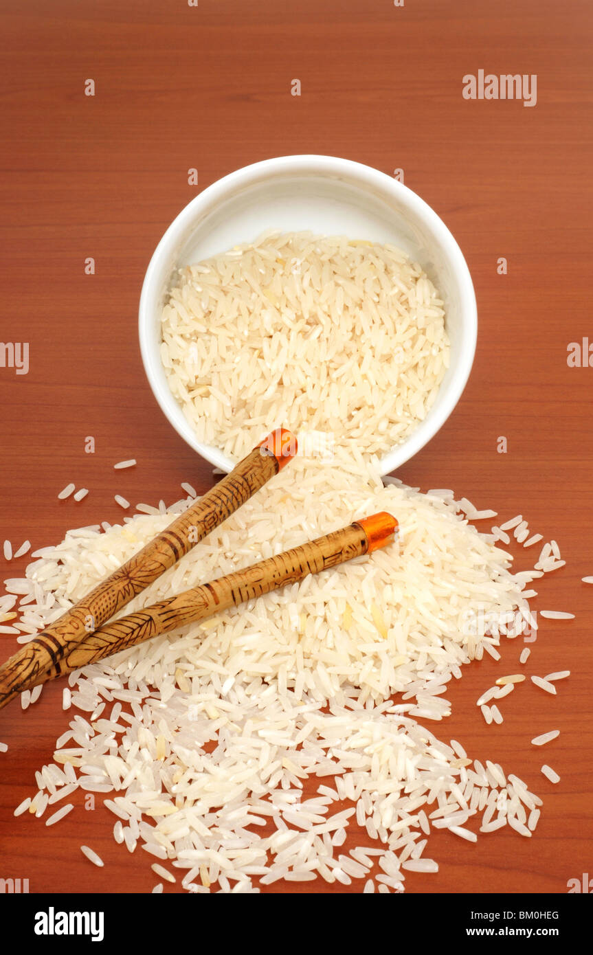 Rice is staple food in many countries - Stock Image