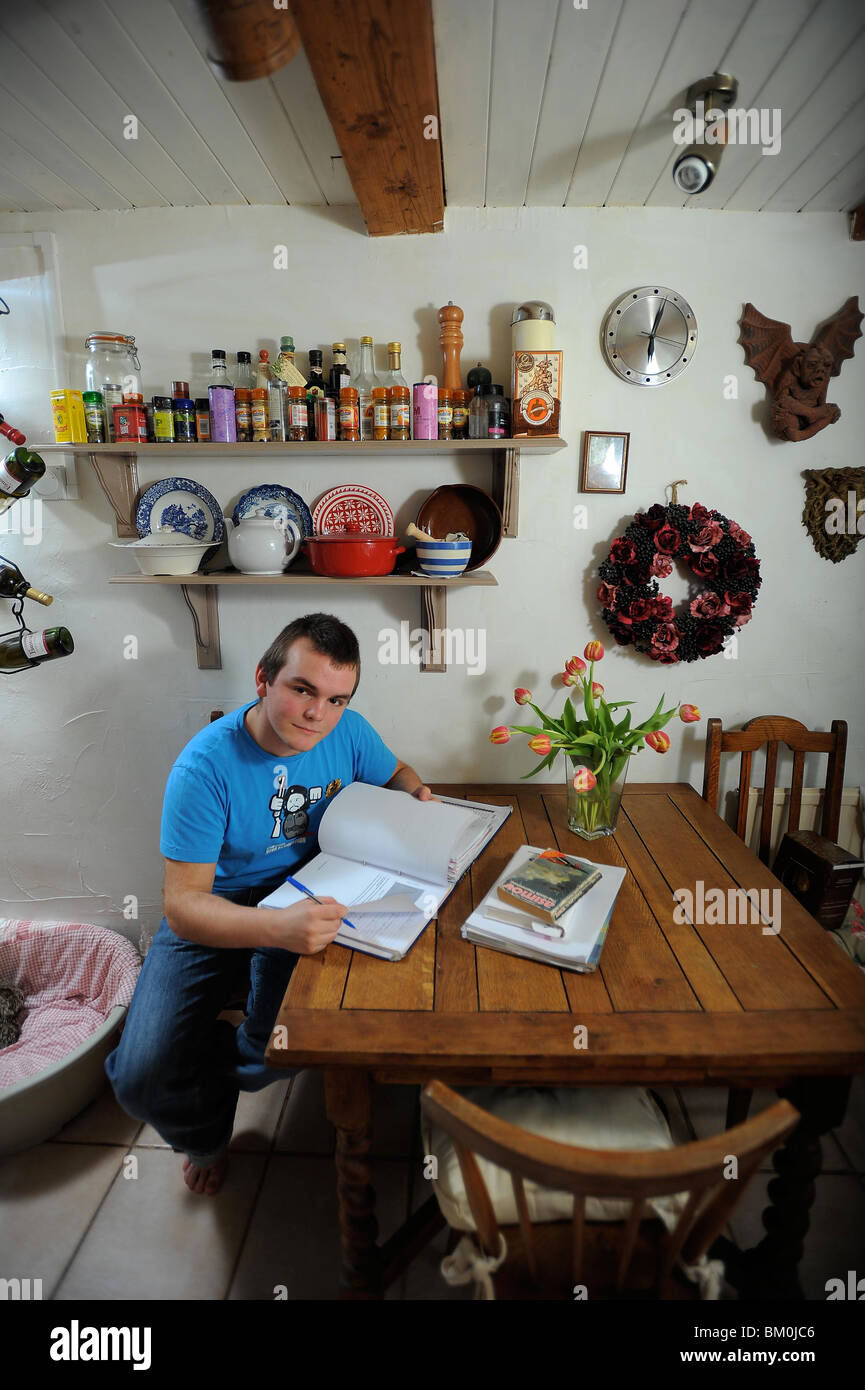 a college student sat revising and working in preparation for college a level exams - Stock Image