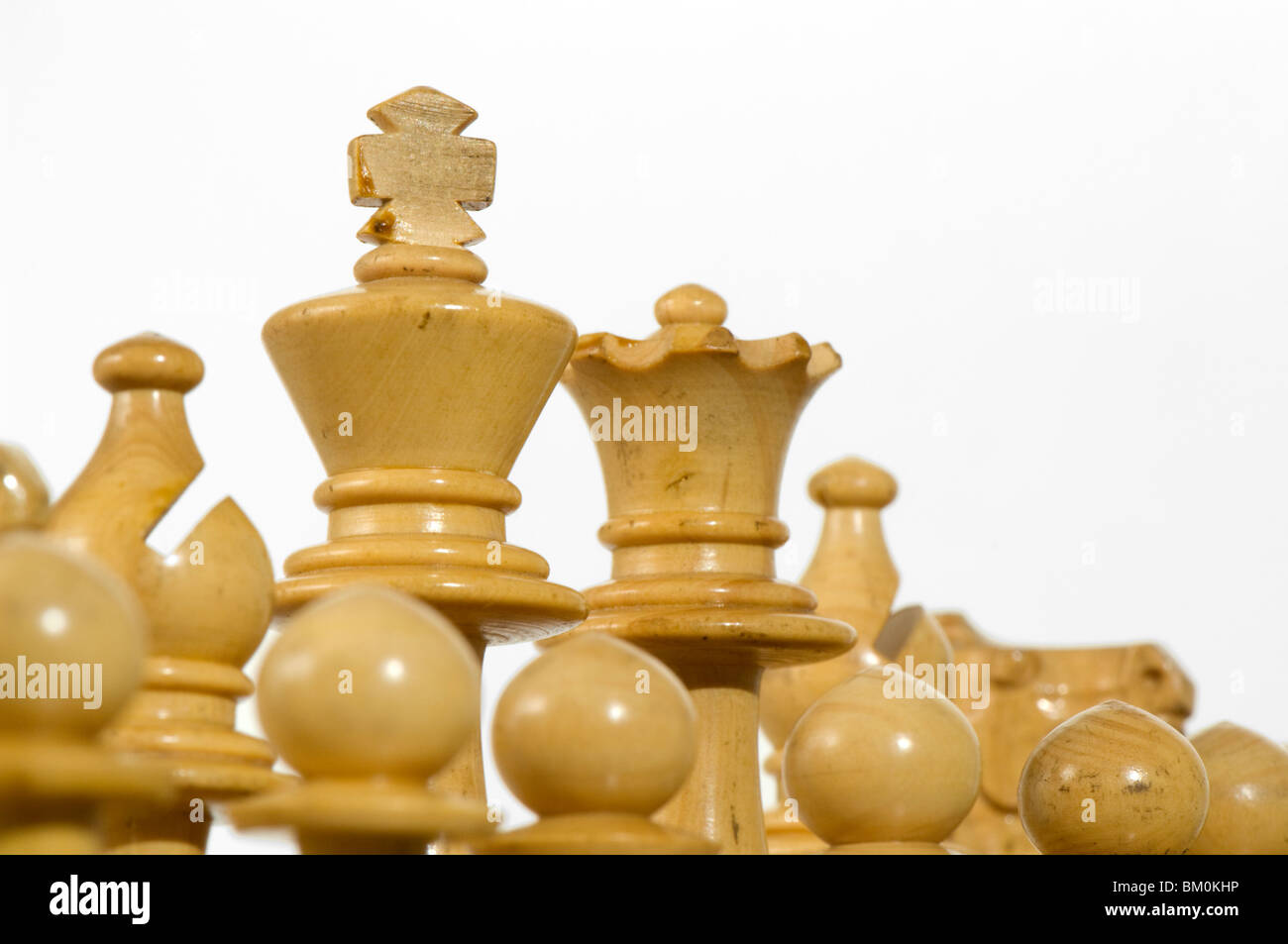 Chess. Royal White chess pieces at start of play - Stock Image
