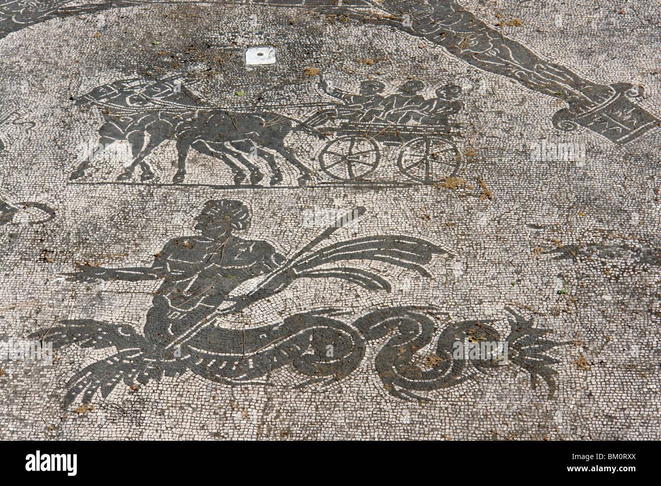 Ostia Antica. Detail of a mosaic in the Terme dei Cisiarii Stock Photo