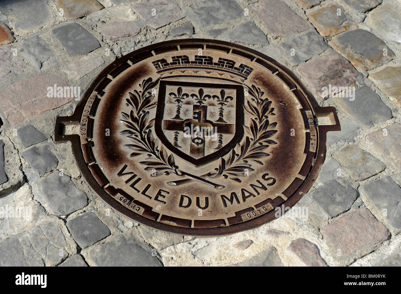 Sever plate wiht Coat of arms of the town,Jacobins place,Plantagenet City, Old town of Le Mans, Sarthe, France - Stock Image