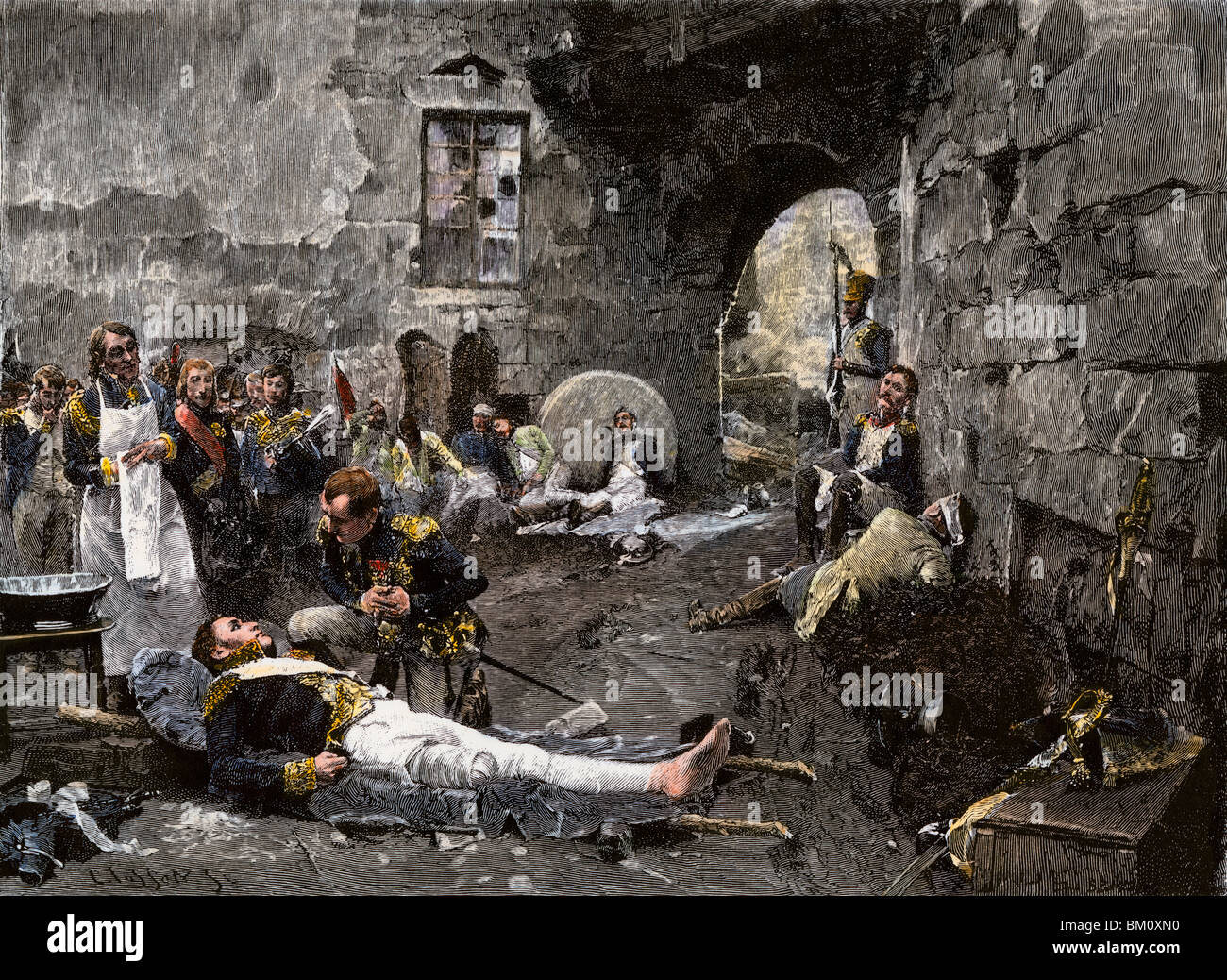 Napoleon with Marshal Lannes, mortally wounded at Essling, 1809. Hand-colored woodcut - Stock Image