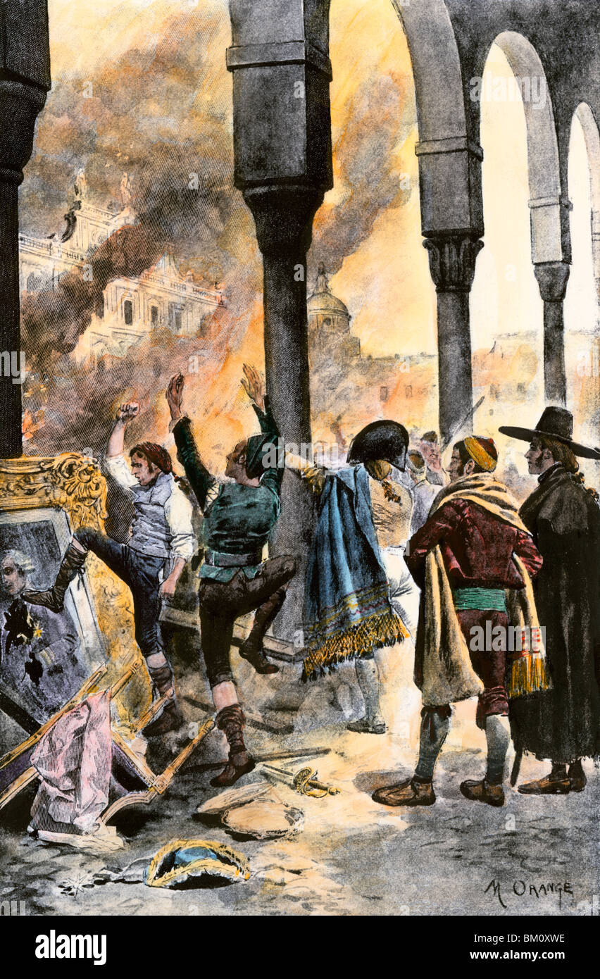Populace of Madrid burning residence of Prime Minister Godoy after Spain's defeat at Trafalgar in the Napoleonic - Stock Image