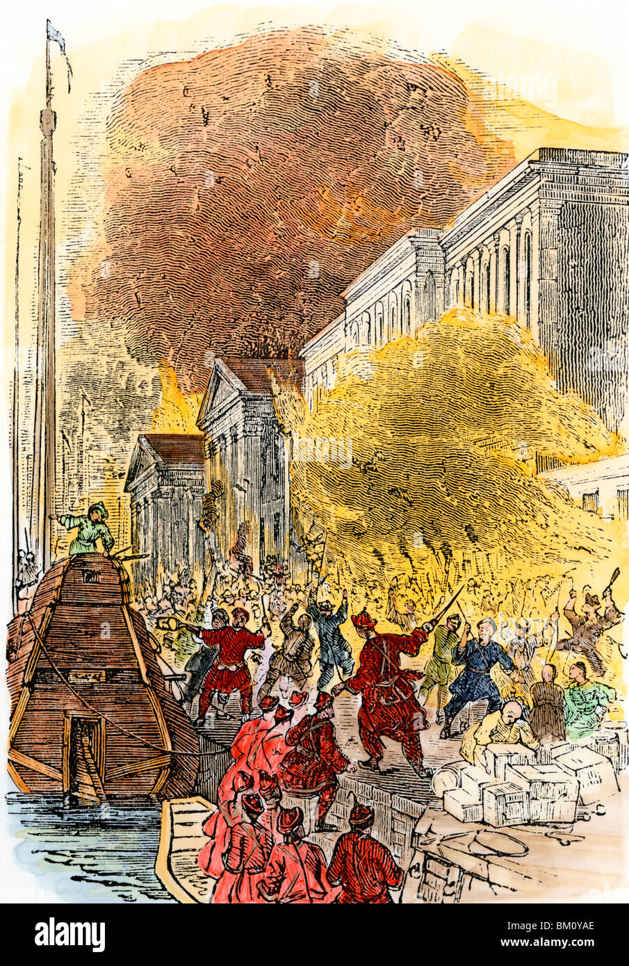 Chinese rioters burning British warehouses during the Second Opium War, 1850s. Hand-colored woodcut - Stock Image