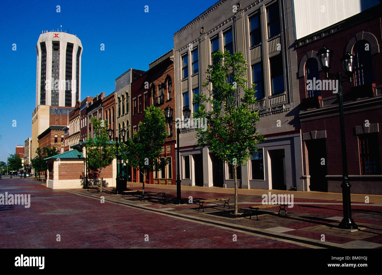 Buildings at a town square, Old State Capitol Plaza, Springfield, Illinois, USA - Stock Image