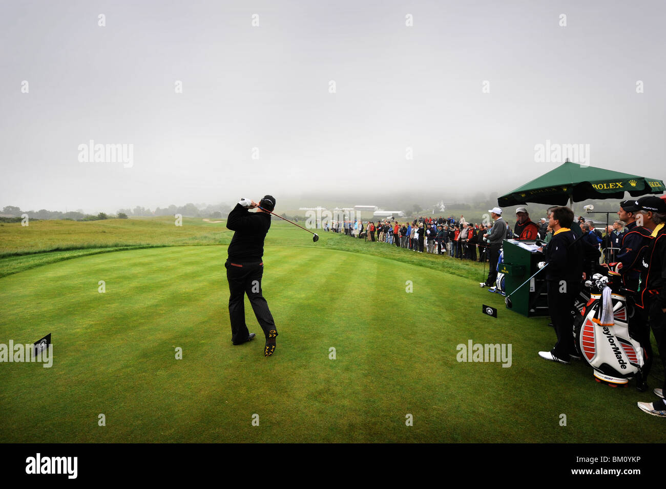 The Celtic Manor Wales Open 2008 - David Dixon of England plays the first shot of the competition 29 May 2008 - Stock Image