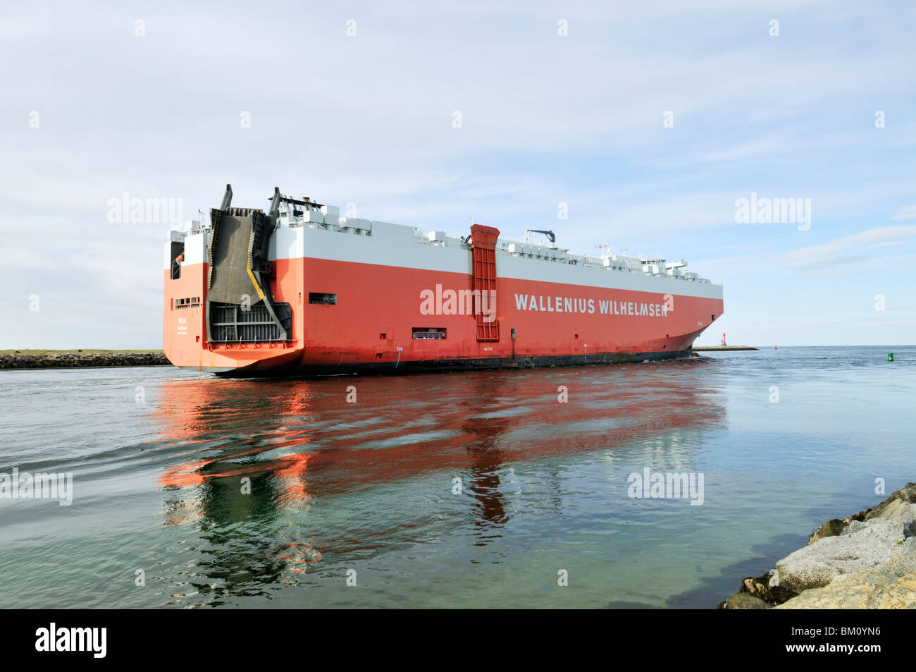PCTC, Pure Car and Truck Carrier, transport ship Talia from Wallenius Wilhelmsen cruising in Cape Cod Canal USA - Stock Image