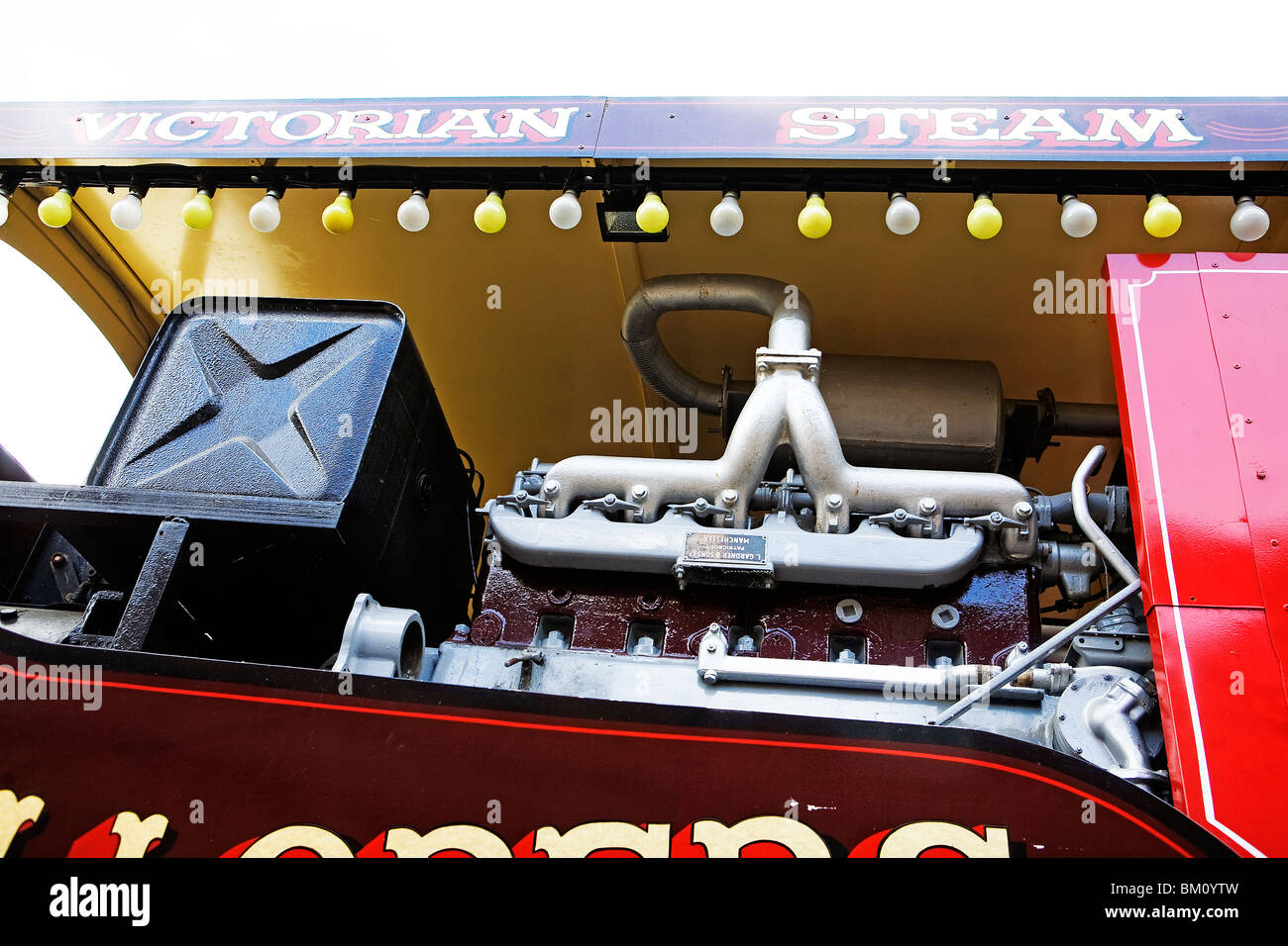 A large Scammell vehicle that is fitted with a generator for a fairground ride at Tatton Hall - Stock Image