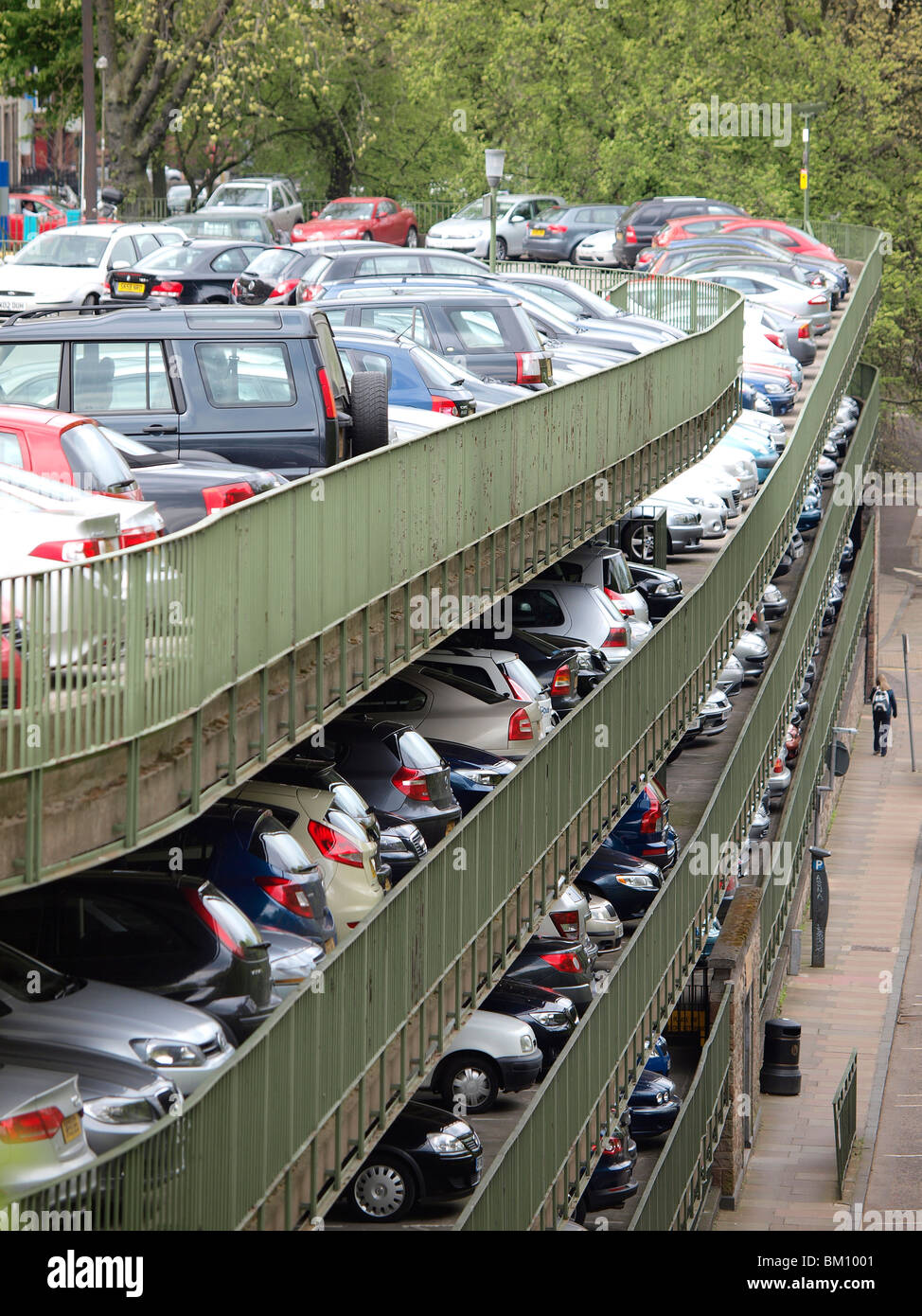 Cars parked in a parking house in Edinburgh, Scotland - Stock Image