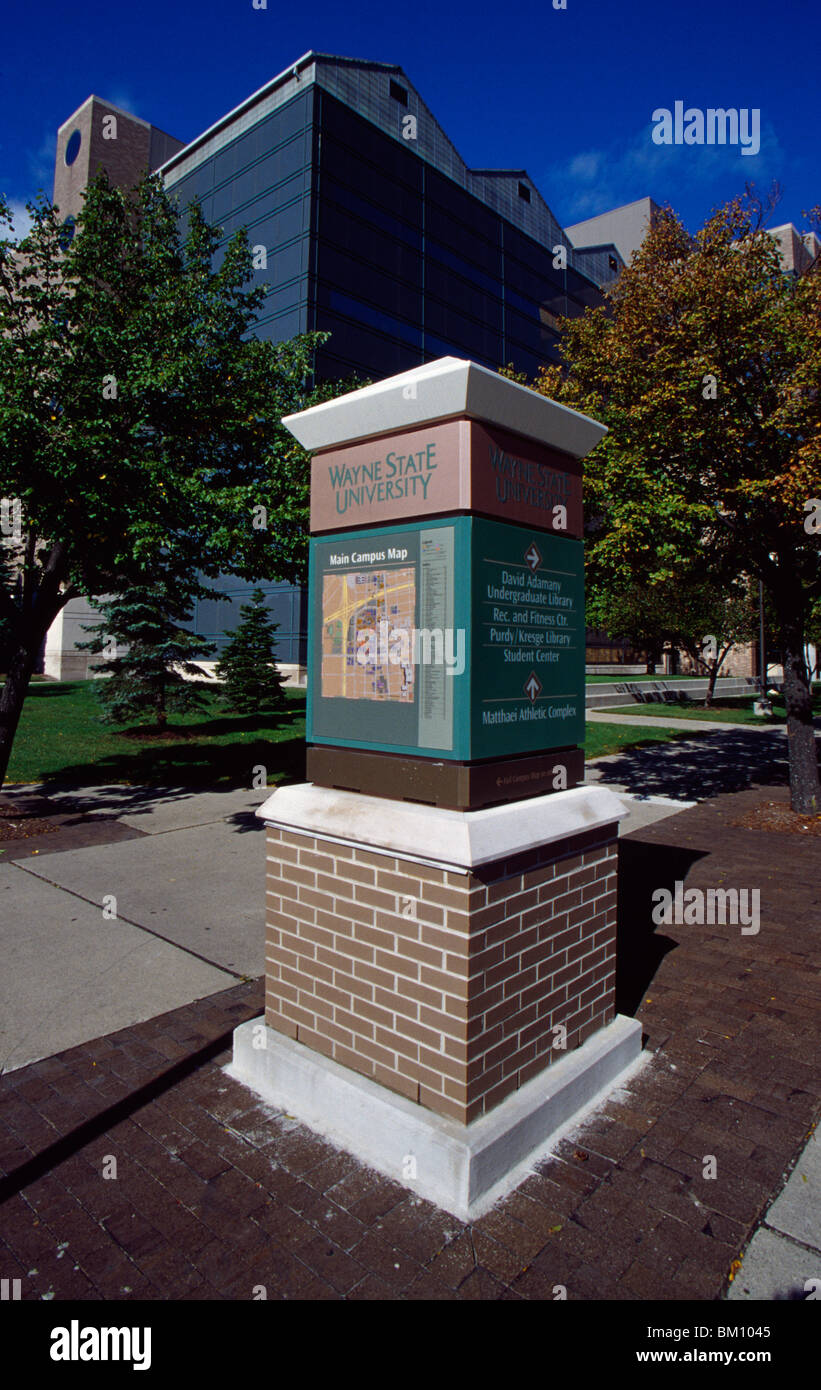 Map Column In A University Campus Wayne State University Detroit