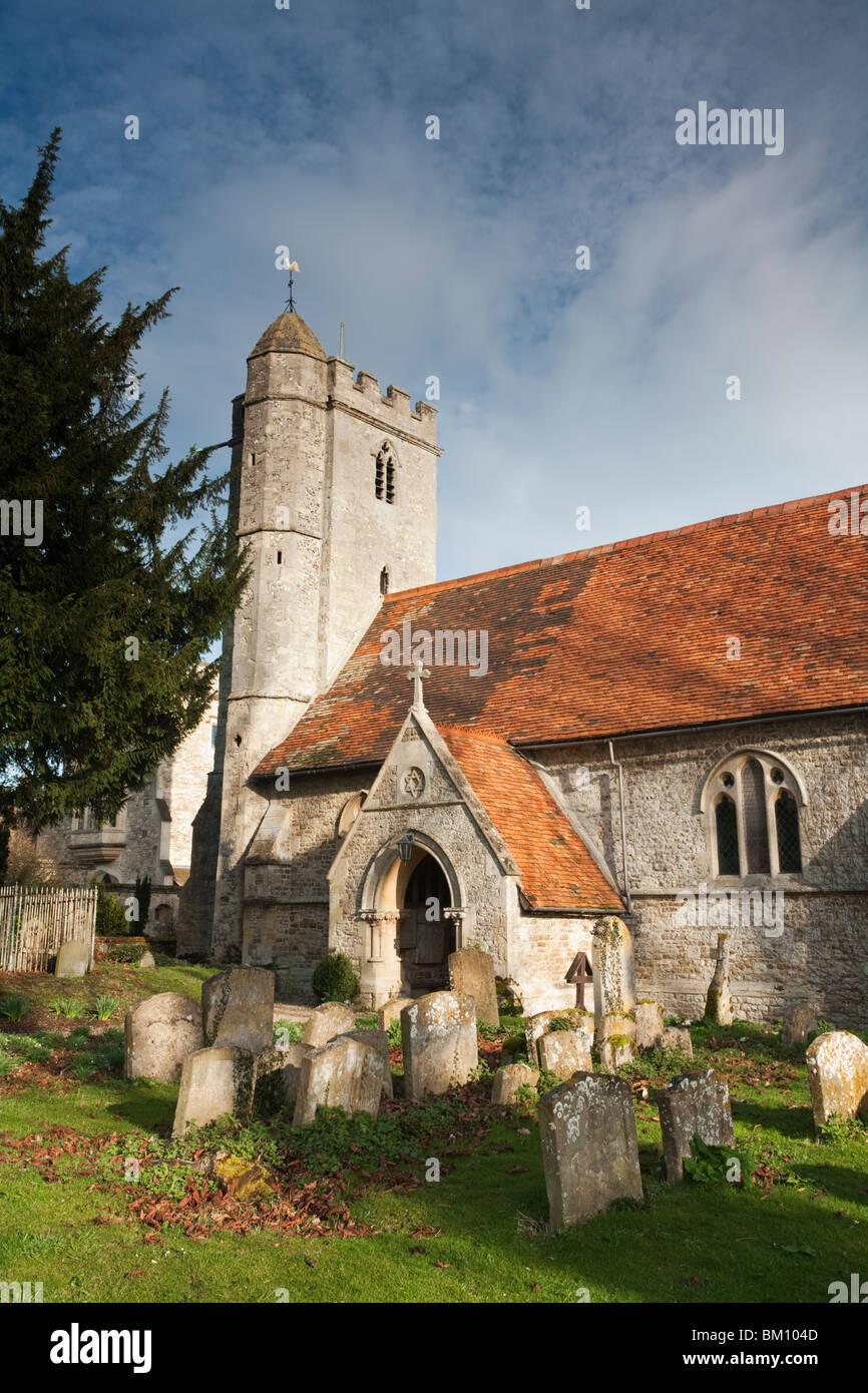 St Peter's parish church in the Oxfordshire village of Little Wittenham, Uk - Stock Image