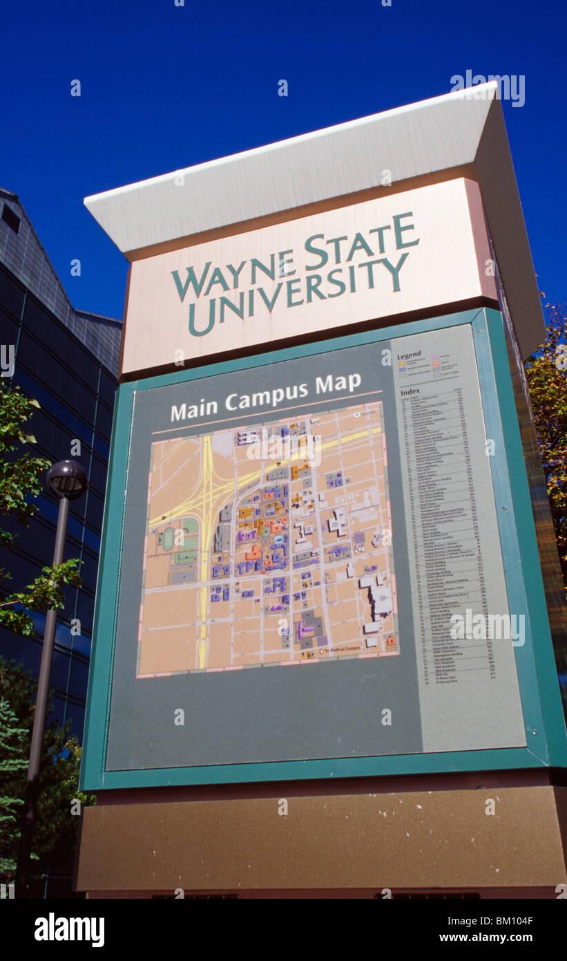 Map Column In A University Campus Wayne State University Detroit
