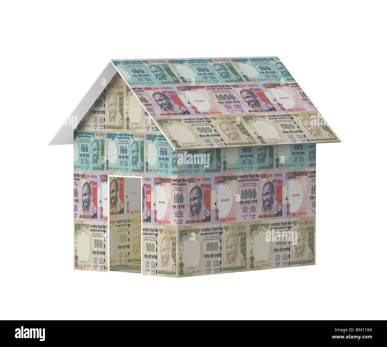 Close Up Of A Model House Made From Indian Currency Stock