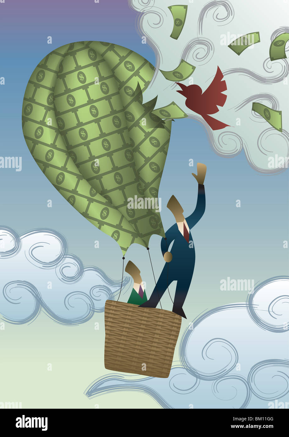 Two businessmen in a hot air balloon of money being burst by a bird - Stock Image