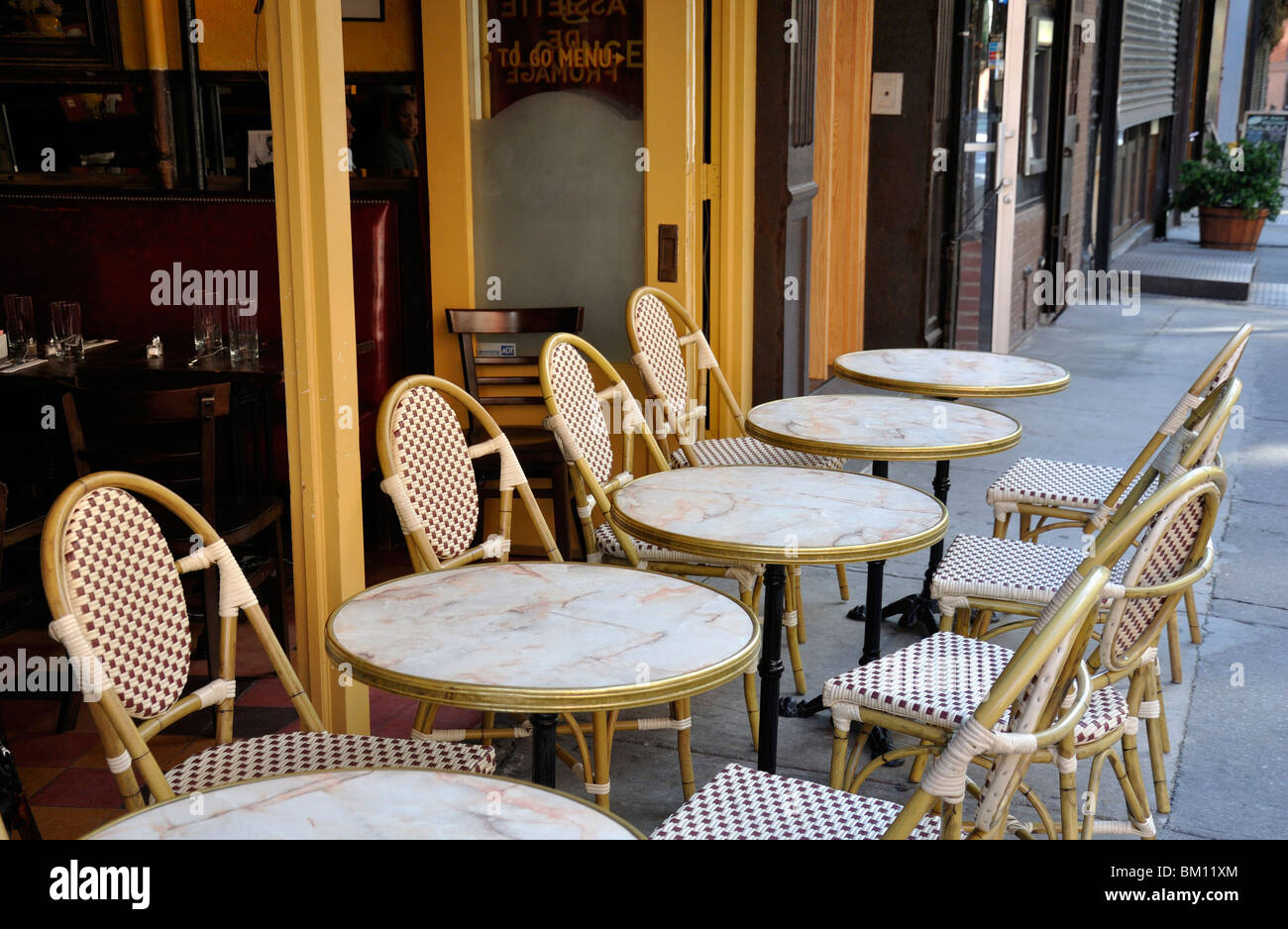 Tables Outside A French Style Cafe Stock Photo Alamy