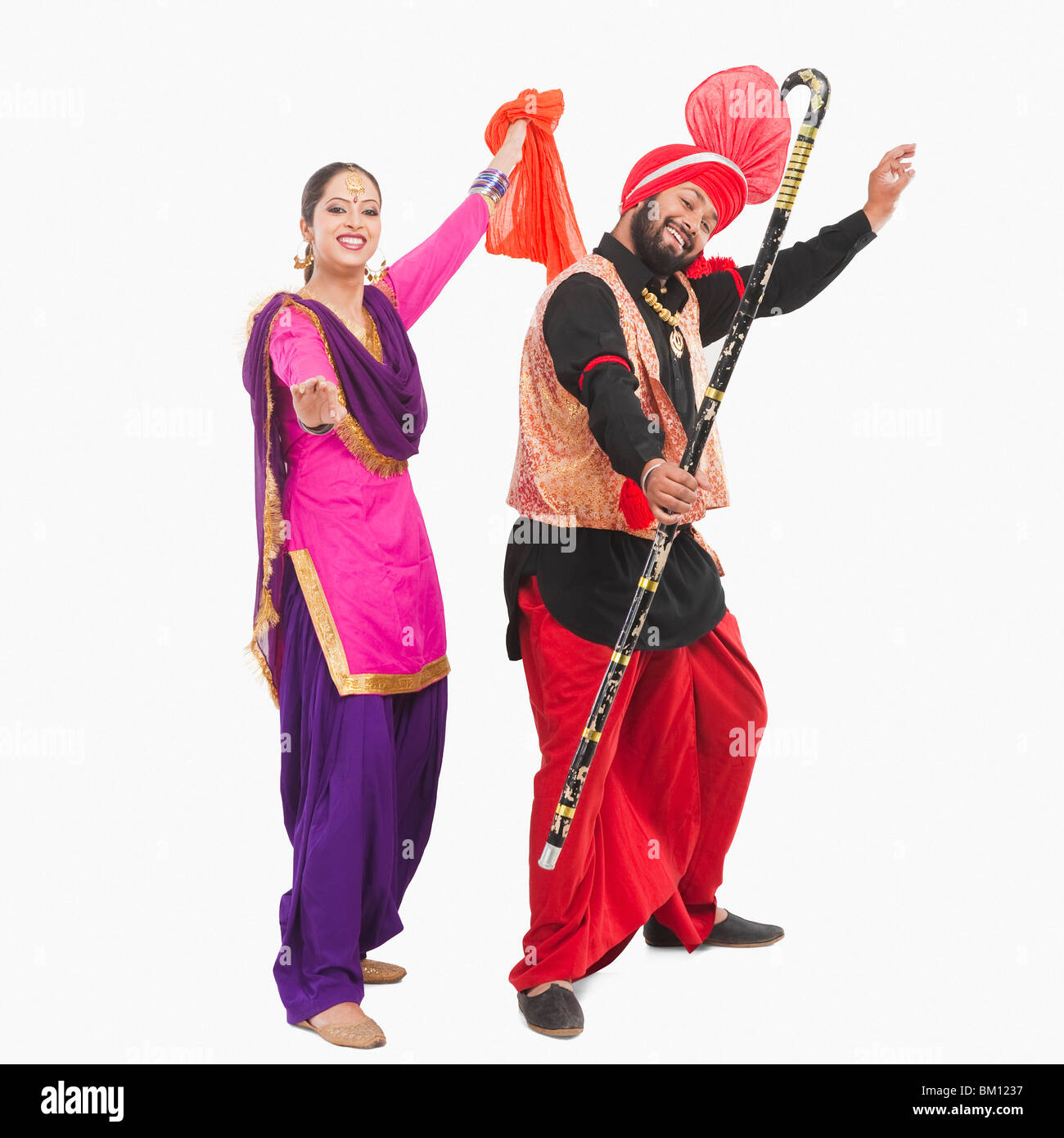 1a1608313 Bhangra the traditional folk dance from Punjab in North India - Stock Image