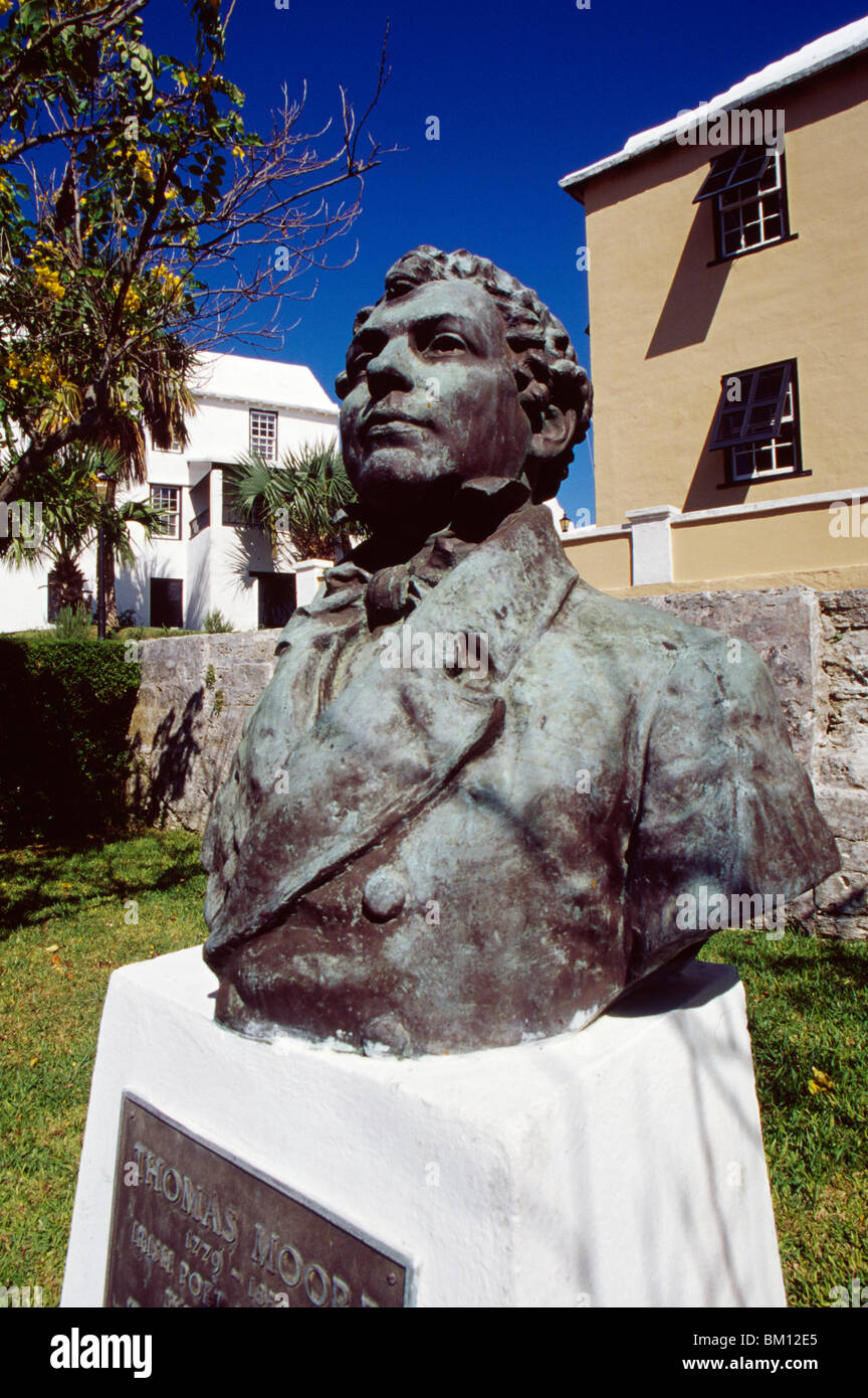 Close-up of a statue, Thomas Moore Statue, St. George, Bermuda - Stock Image
