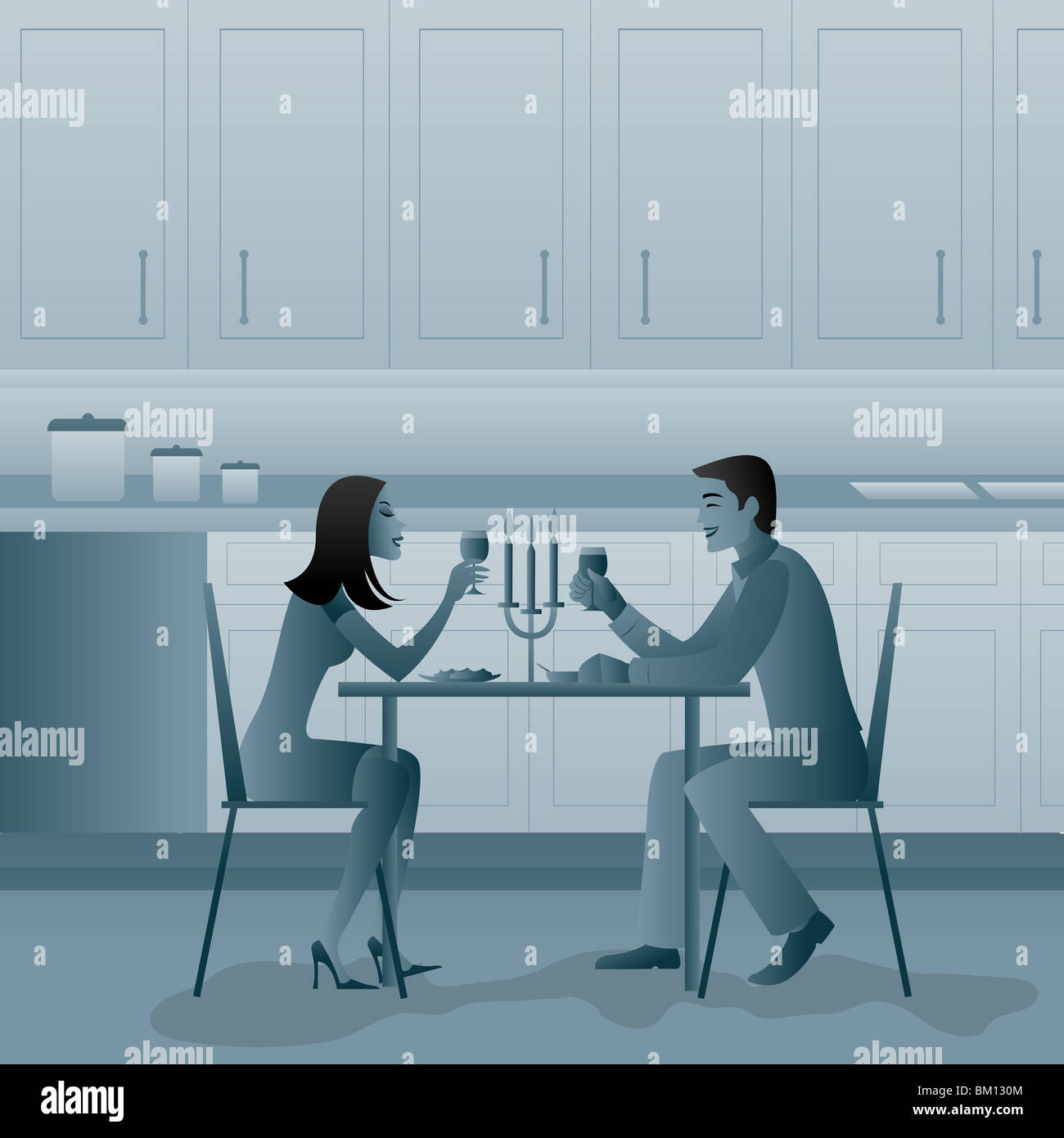 Couple eating candlelight dinner at home - Stock Image