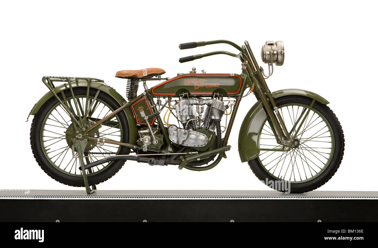 1918 Harley Davidson 61ci Model 18F motorcycle - Stock Image