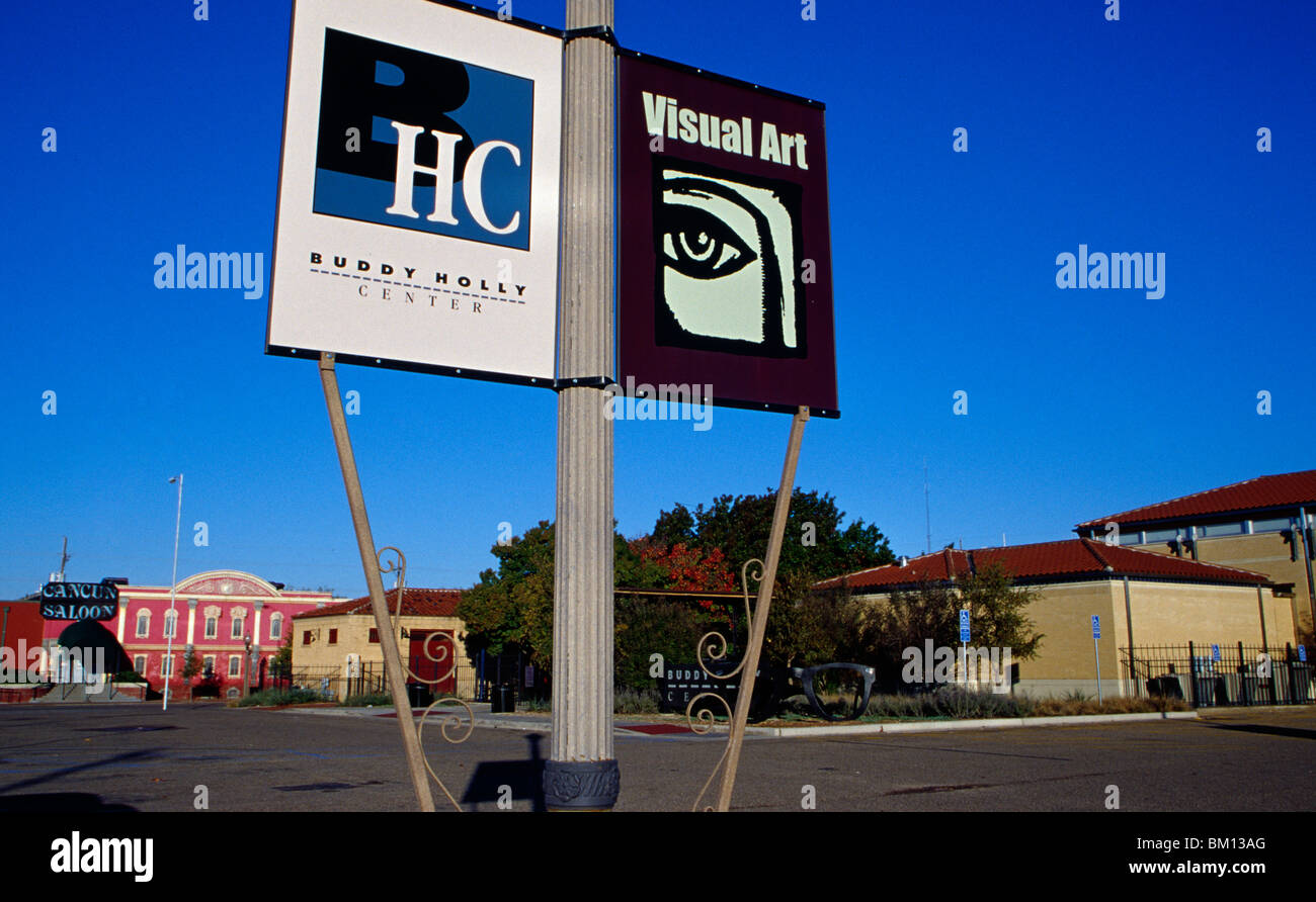 Signboards of a museum, Buddy Holly Center, Lubbock, Texas, USA - Stock Image