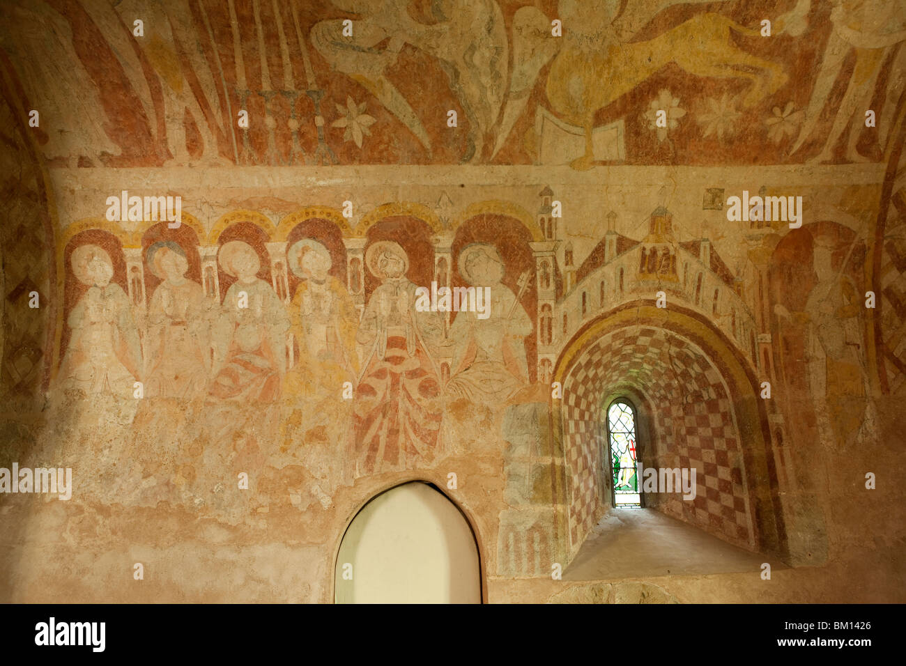 UK, England, Herefordshire, Kempley, St Mary's church medieval wall paintings of apostles sitting in judgement Stock Photo