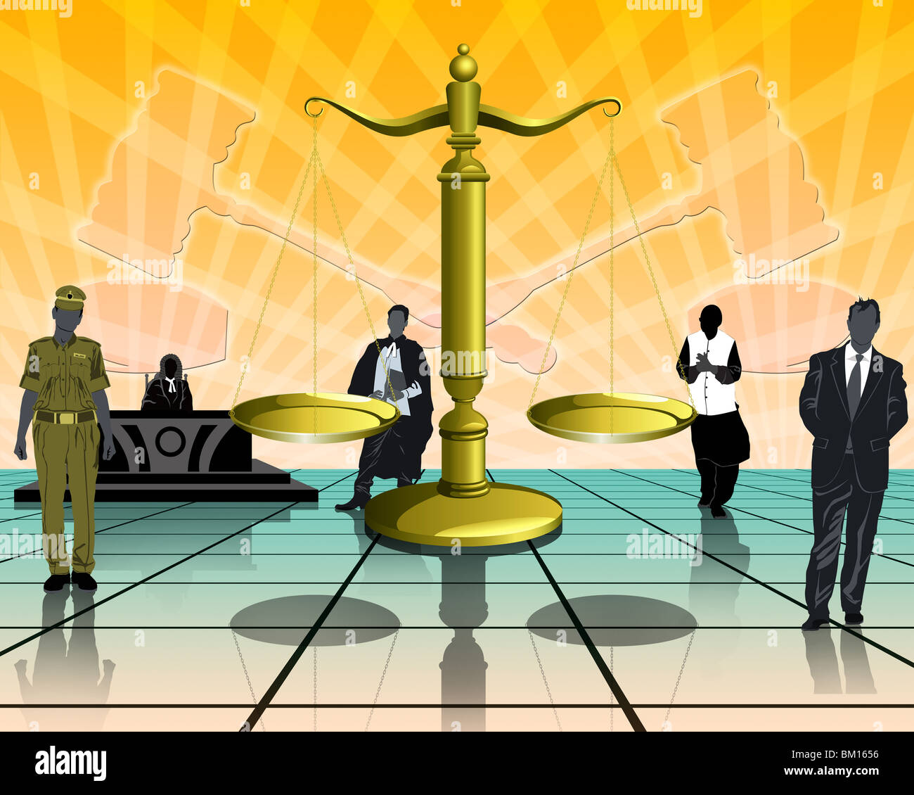 Illustrative representation of the legal system - Stock Image