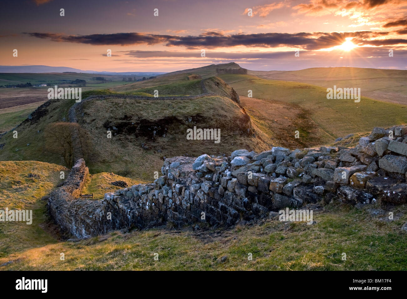 Sunset at Hadrian's Wall, Northumberland National Park, England, UK - Stock Image