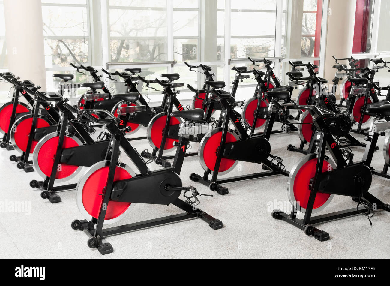 Exercise bikes in a gym - Stock Image